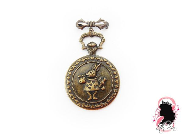Antique Bronze Rabbit Pocket Watch Brooch